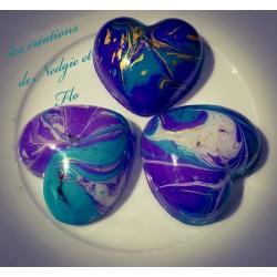 trio de bougies marbrées turquoise/violet/or