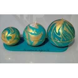 Trio - Bougies rondes marbrées TURQUOISE/OR