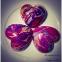 Trio - Bougies Coeurs plates marbrées violet/fuschia